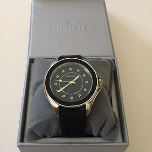 Michele Cape Black And Silver Watch Rubber Band